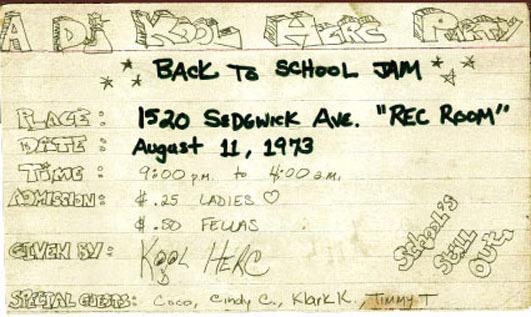 Le flyer de la soirée du 11 août 1973, organisé par Cindy Campbell.